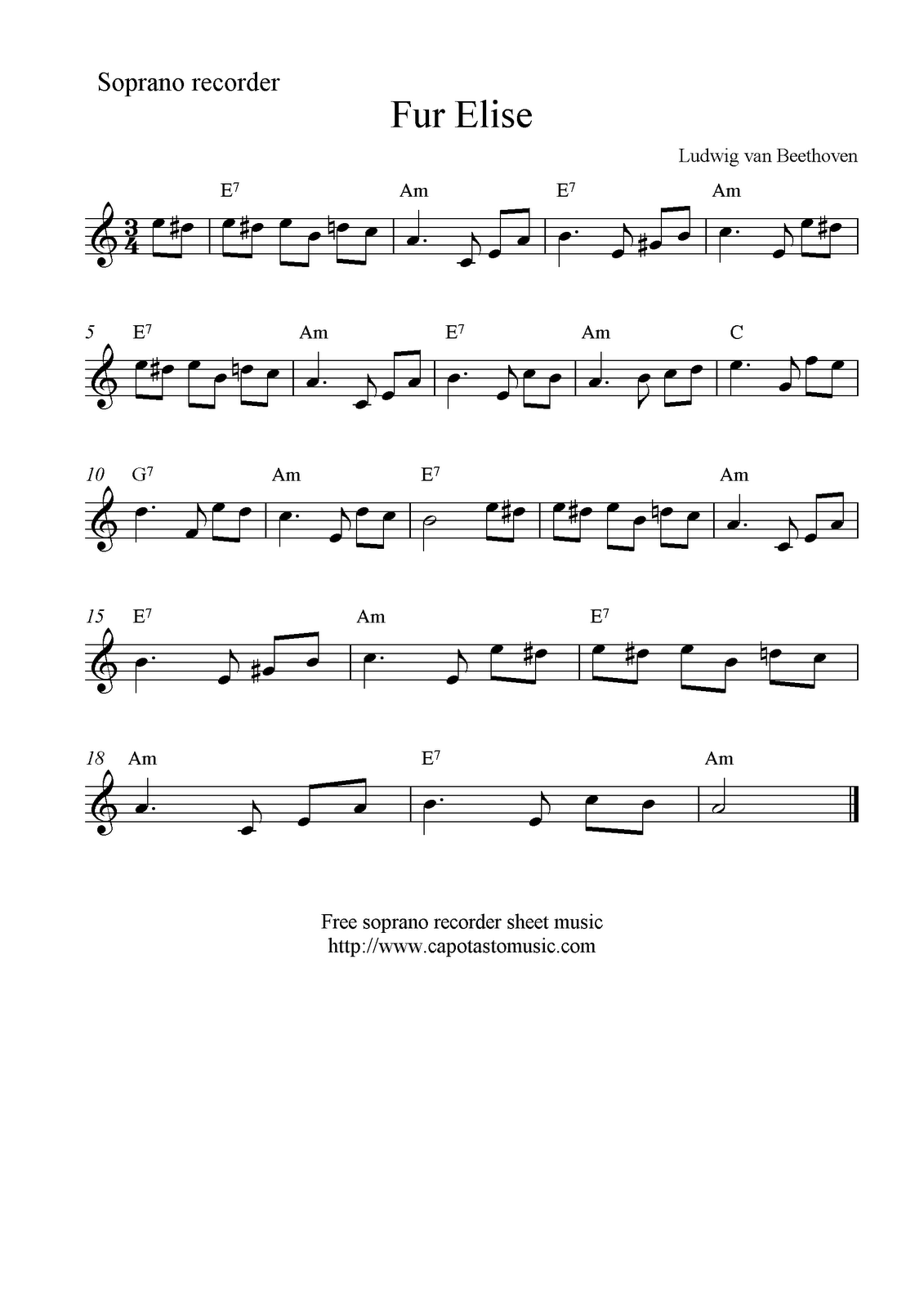 how to play fur elise on recorder